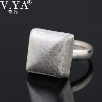 V.YA New Geometry Square Shape Rings for Women Real Pure 925 Sterling Silver Adjustable Simple Finger Rings Jewelry Accessories