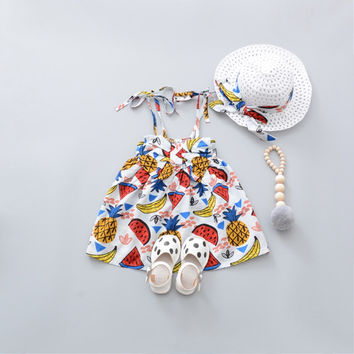 Summer Beach Baby Girls Spaghetti Strap Floral Print Bow Kids Dress Princess Party Infant Sundress with Hat vestido infantil
