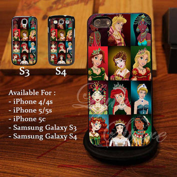 All Character Princess Disney Design for iPhone 4, iPhone 4s, iPhone 5, Samsung Galaxy S3, Samsung Galaxy S4 Case