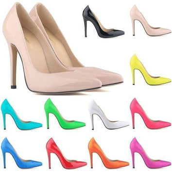 women shoes patent pu high heels pointed corset style work women pumps court shoes  number 1