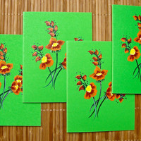 Hand Painted Green Cards With Red and Orange Flowers