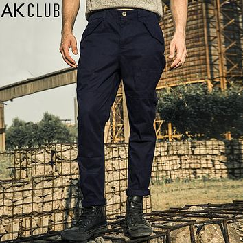 Men Pants Vintage Military Pants Field Army Chino Pants Cotton Full Length Straight Casual Pants
