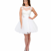 Ivory Embroidered Illusion Tulle & Sequin Short Dress 2015 Prom Dresses