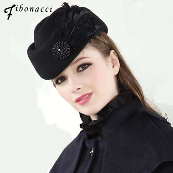 Fashion Vintage Wool Felt Women Beret Feathers Stewardess Small Fedora Hats