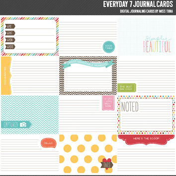Everyday 7 Digital Journal Cards - 4x6 project life inspired printable scrapbooking journaling note cards  - instant download - CU OK
