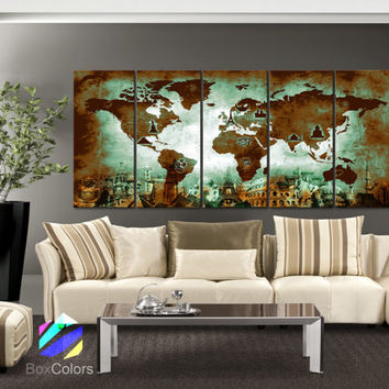"XLARGE 30""x70"" 5Panels Art Canvas Print Original Wonders of the world Old Paper Map Green Brown Wall decor Home interior (framed 1.5"" depth)"