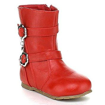 Toddler Girl's Zoe-795 Round Toe Zipped Charm Riding Boots