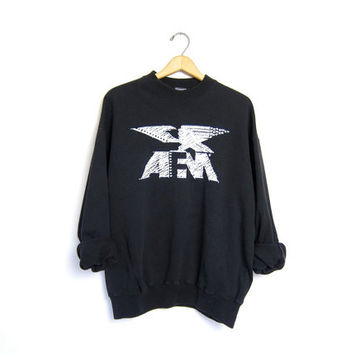 AFM Sweatshirt Slouchy Black 80s 90s Grunge Eagle Sweater Vintage Stars Motorcycle Biker Americana Mens Large XL