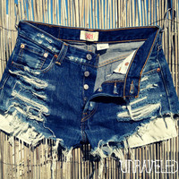High Waisted Denim Shorts (SMALL)