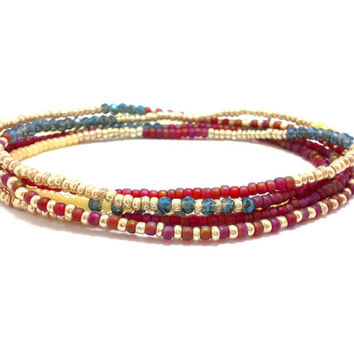 Multi strand seed bead bracelet, stretch wrap beaded bracelet, seed bead jewelry, bohemian, stackable, necklace, anklet red gold blue cystal