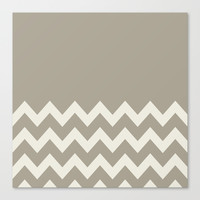 Chevron Colorblock Alabaster Blue Gray Canvas Print by Beautiful Homes