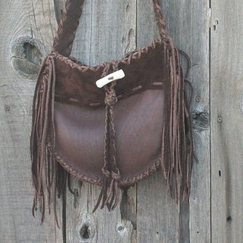 Handmade brown leather tote ,   Fringed buckskin purse ,  Crossbody gypsy handbag