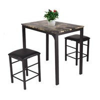 Costway 3 PCS Counter Height Dining Set Faux Marble Table 2 Chairs Kitchen Bar Furniture - Walmart.com