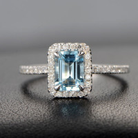 Emerald Cut Aquamarine Engagement Ring Pave Diamond Wedding 14K White Gold 5x7mm Claw Prongs