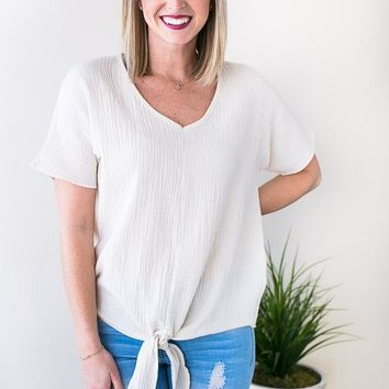 One Lucky Tie Front Top - Taupe