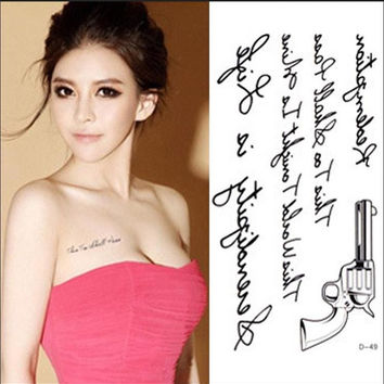 RC2216 Women Sexy Chest Water Transfer Tattoo Decals Waterproof Temporary Tattoo Stickers Letters Gun Body Art Fake Tattoo