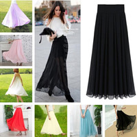 Women Ladies Elegant Stretchy Elastic Waist Fashion Maxi Double Layer Chiffon Skirt One Size = 1704351172
