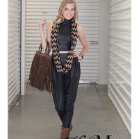 Turtle Neck Faux Leather Crop Top