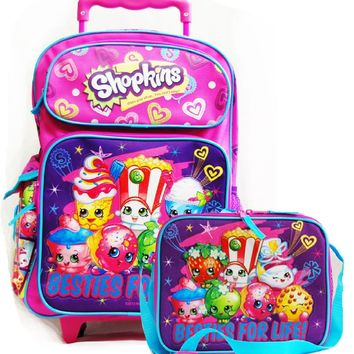"Shopkins Besties for Life! 12"" Rolling School Backpack w/Insulated Lunch Bag"