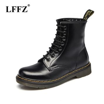 Hot Brand Men s Boots Dr. Martens Leather Winter Warm Shoes Moto ccdbd52ddbfa