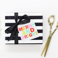 Holiday Gift Tags for Girls Cute Personalized Christmas Tags Black and White Dot Colorful Paper Gift Tags Girls Holiday Party Favor Labels