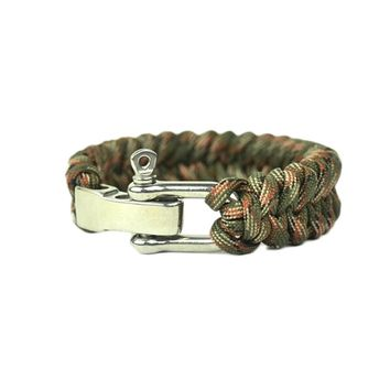 Adjustable Paracord Survival Bracelet, Fits 7-9 Inch Wrist , Camouflage