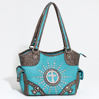 Women's Western Rhinestone Studded Shoulder Bag w/ Croco Trim & Cross Accent - Turquoise/Taupe Color: Turquoise/Taupe