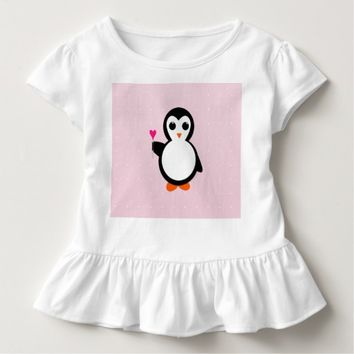 Cute Penguin Holding Heart Lollipop w/ Polka Dots Toddler T-shirt