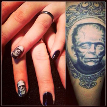 MONSTERPHELIA  FRANKENSTEIN spooky halloween movie NAIL decals
