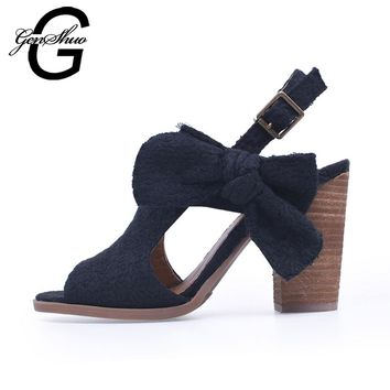 Women High Heels Sandals Shoes Summer Genuine Leather Strappy Chunky Heels Print Black Sandals Back Strap Peep Toe Stacked Heel