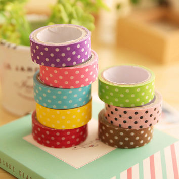 1PCS 8 colors Polka Dots Masking Tape Washi Adhesive Stationery Decorative DIY Cute Cartoon Scrapbooking Paper Dot Free shipping