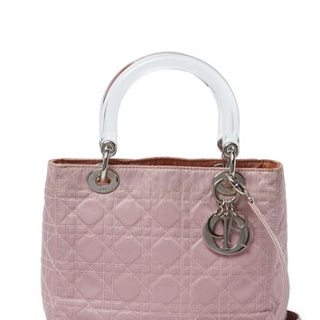 Christian Dior Women's Pink Cannage Quilted Nylon Lady Dior Medium - Pink
