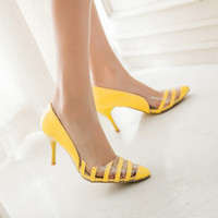 Patent Leather Striped Transparent High Heels Spike Shoes 1211