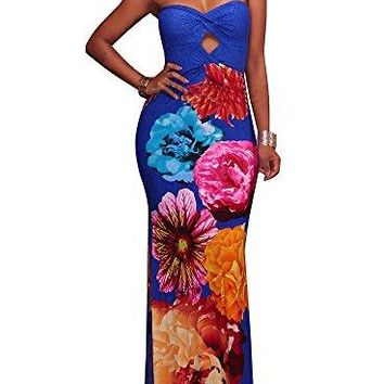 LightlyKiss Women's Sexy Wrap Chest Floral Print Summer Casual Bodycon Off Shoulder Stretch Party Long Maxi Dress