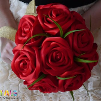 Gorgeous Red Ribbon Rose Wedding Bouquet, Handmade Satin Rose Bouquet