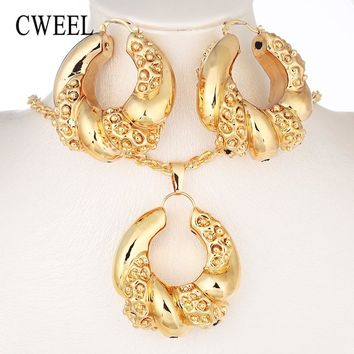 CWEEL Nigerian Beads Jewelry Set Bridesmaid African Wedding Jewelry Women Copper Dubai Jewelry Sets Gold Color Costume Jewellery