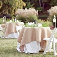 Natural Rustic Burlap Table Overlay - Wedding  / Event Supplies