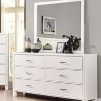 Wolson Contemporary 6-Drawer Dresser and Mirror in White
