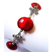 Round Red Flat Pendant Bead Bracelet -  British (UK) Bead Jewellery Designer