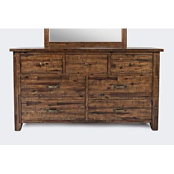 Transitional Style 7 Drawers Wooden Master Dresser With Metal Handles , Brown - BM183543