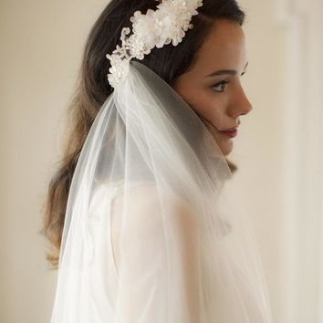 Boho Cascading 2-Layer Side Veil with Crystal Lace Headband