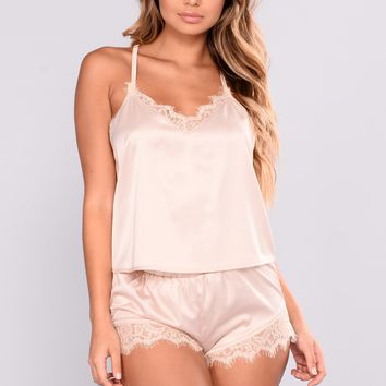 Kyra Satin PJ Top - Nude