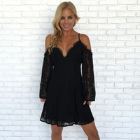 Best Bud Floral Lace Dress In Black