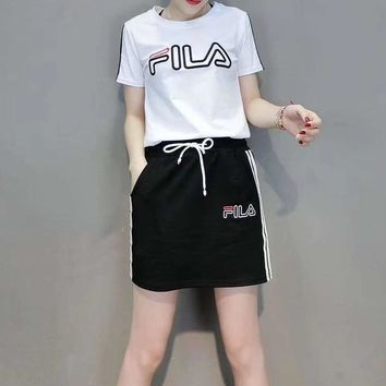 """FILA"" Woman's Leisure  Fashion Letter Embroidery Printing  Spell Color Short Sleeve Shorts Two-Piece Set Casual Wear"