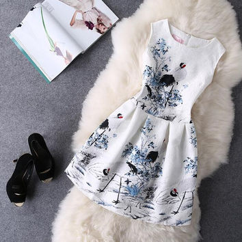 Retro Fashion Print Sleeveless A-Line Dress