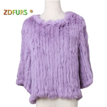 ZDFURS * genuine real natural women's knitted rabbit fur coat fashional fur jacket all-match sweater ladies pullovers