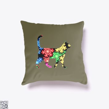 Neon Snowflake Cat, Cat Throw Pillow Cover