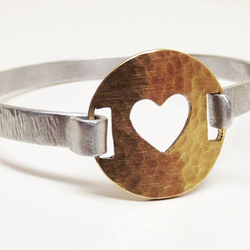 Oh My Metals, Hammered Bangle, Metalwork, Handmade Bracelet, Heart, Cutout, Mixed Metal, Gift, Rustic, Cute, Fall Jewelry, Under 50, Womens