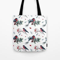 Christmas Pattern Pine Cones Pine Branches Holly Berries Leaves Tote Bag by DazzetteMarie
