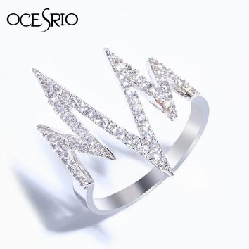 OCESRIO Steampunk Lightning Ring female Zircon Silver Heartbeat Wave Rings for women anel Girl Fashion jewelry bague rig-f03